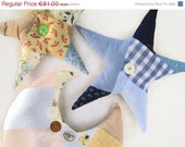 ON SALE Decorative Patchwork Pillows - Blue/Yellow Moon and Stars Pillows, ready to ship