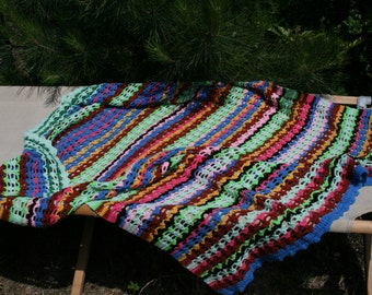 Django: Nice french vintage afghan blanket crocheted stripes, crocheted multicolored lace.