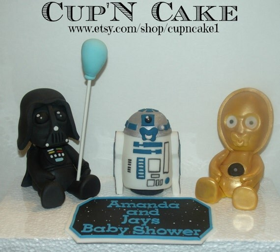 star wars baby shower fondant cake toppers by cupncake1 on etsy