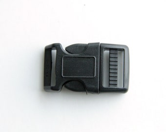 "20 pcs of 3/4"" plastic side press release curved buckle heavy duty (black color)"