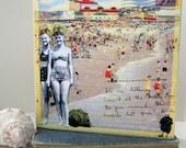 "Retro Beach II - Art Print on 8"" x 8"" Wooden Art Box"