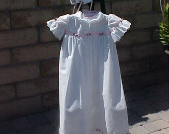 Baby Girl Christening Gown & Cap - Size Small