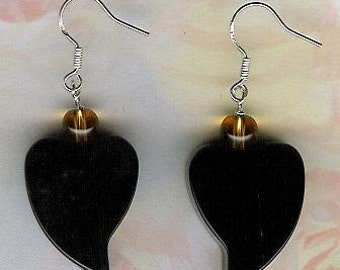 Earrings - Black Agate, Citrine, Sterling Silver