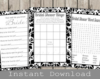 black and White BRIDAL Shower Games Set / Bingo, Word Search, How well do you know the Bride Quiz Cards / INSTANT DOWNLOAD / wedding shower