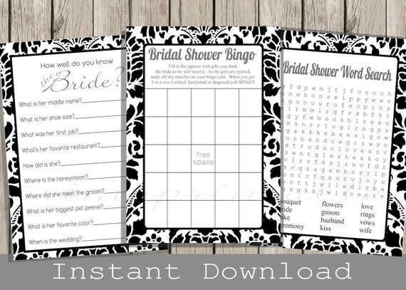 And white bridal shower games set bingo word search how well do