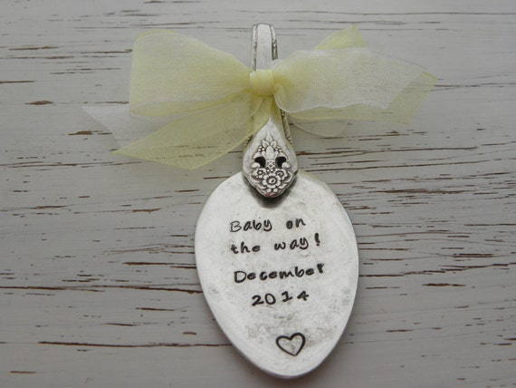 Spoon ornament baby on the way by whisperingmetalworks on etsy - Ornament tapete weiay ...