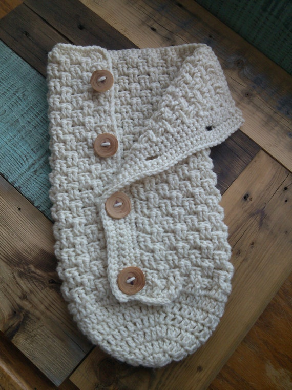 Items similar to Newborn Crochet Button Down Baby Cocoon ...