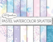 """Watercolor papers """"PASTEL WATERCOLOR SPLATTER"""" Painted backgrounds, watercolor designs in pastel colors, great for scrapbookers, invitations"""