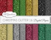 "Christmas digital papers ""CHRISTMAS GLITTER"" sparkling red glitter paper, gold glitter paper, silver & black, navidad paper"
