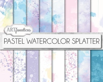 "Watercolor papers ""PASTEL WATERCOLOR SPLATTER"" Painted backgrounds, watercolor designs in pastel colors, great for scrapbookers, invitations"