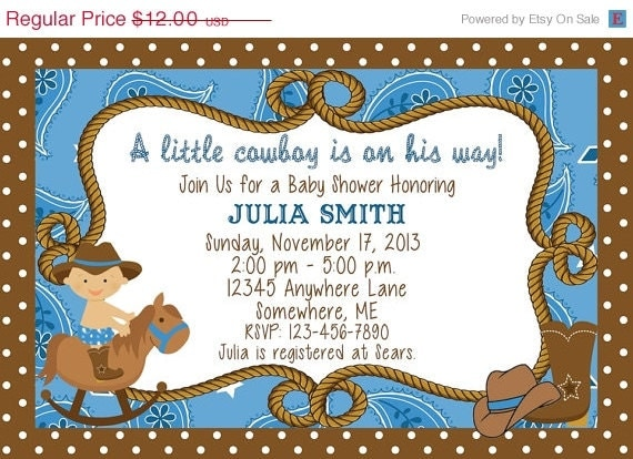 items similar to on sale cowboy baby shower invitations you print diy