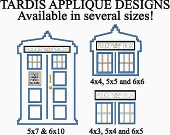 Doctor Who Inspired Full and Partial Tardis Applique Embroidery Designs