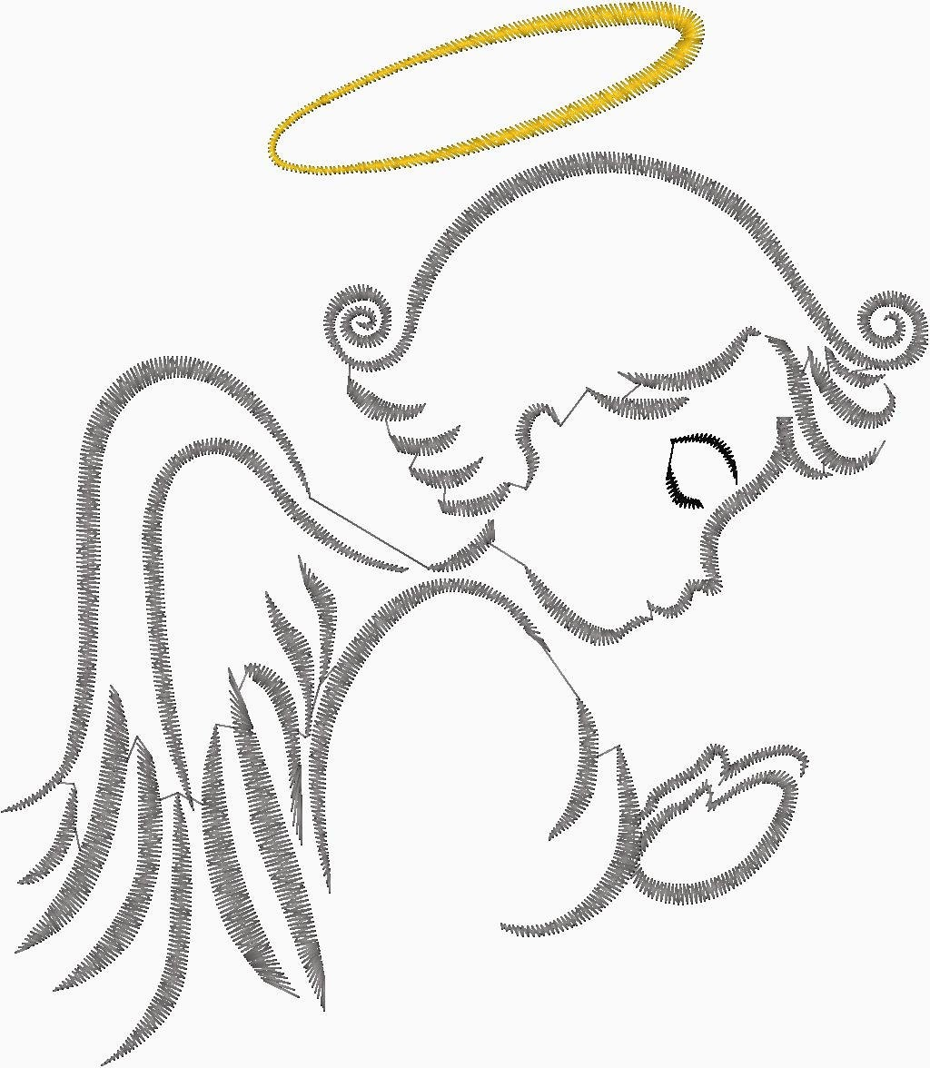 Praying Angel Silhouette embroidery Design