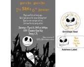 Jack Skellington Birthday or Halloween Invitations w/address labels and envelope seal
