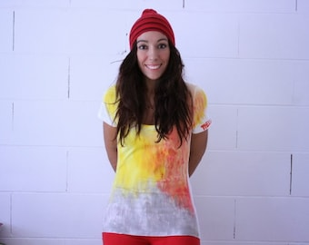 Fire t shirt, hand painted tshirt, Thelli, white cotton elastam tshirt, women M t shirt, red, yellow, grey, abstract tshirt, coloured tshirt