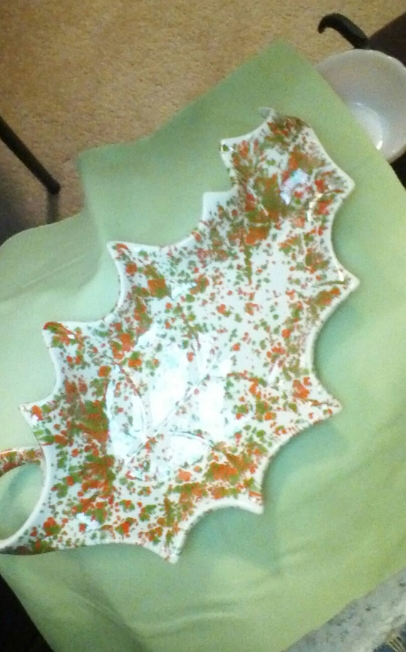 Vintage Holland Mold Ceramic Leaf Tray Lime green and Orange speckled-Excellent Condition 1960s