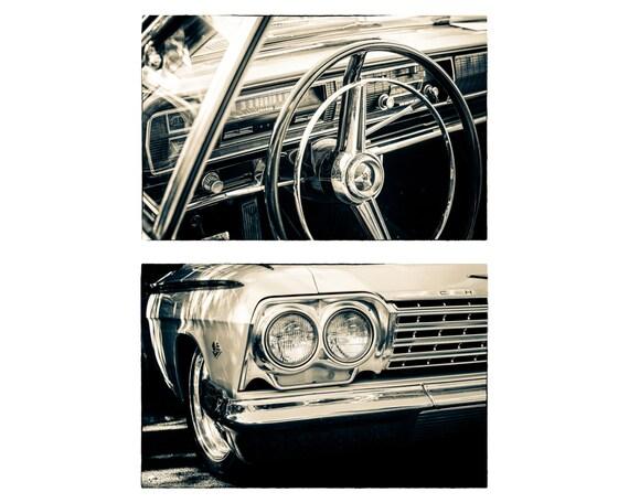 Chevrolet. Classic Old Car. Vintage Automobile Details. Monochrome Photography. 2 Black & White Prints by OneFrameStories.