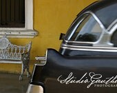 50s Hearse Havana Cuba, Matted PHOTO,  50s Cadillac hearse, #Carporn, midcentury hearse, Coche fúnebre sobre amarillo / Father's day gift