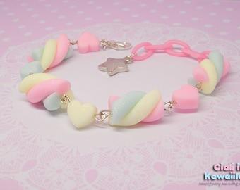 Pastel rainbow marshmallow bracelet
