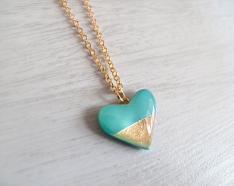 Turquoise Gold Heart Necklace - Bridesmaide Gift - Gift for Her