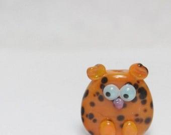 Glass Cat Lampwork Focal Bead. Orange with black dots