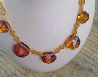 1940s amber coloured crystal necklace