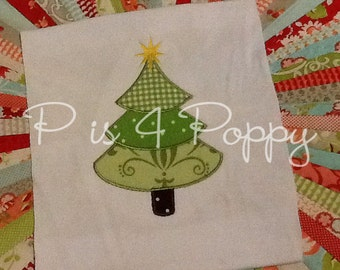 Christmas tree applique design instant download