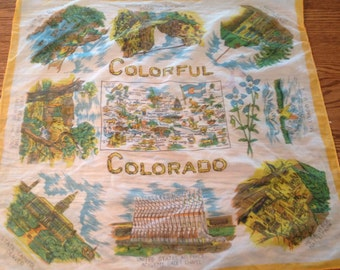 Vintage souvenir scarf of Colorado. Sheer souvenir scarf. Colorado scarf