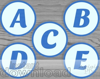 blue alphabet letter number circles, printable party material, download PDF file, ready for print and cut