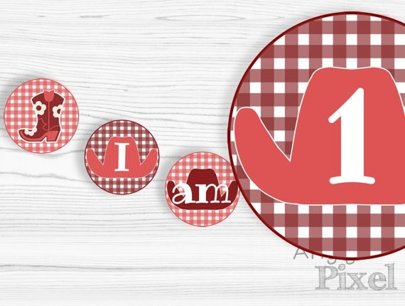 Printable western highchair banner - 1st girl birthday - I am 1 - circles banner