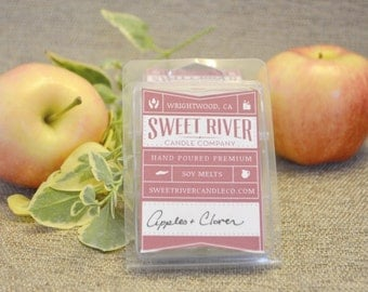 Apple and Clover Soy Melts - Soy Wax Tarts - 3 Ounce Autumn Fall Soy Tarts