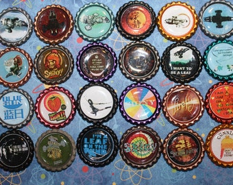 Firefly / Serenity Geocaching Trade and Swag Items - 24 Piece Bottle Cap Set