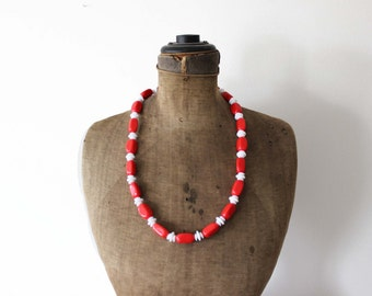 Trifari Red Bead Necklace - Long Red Necklace - Red and White Necklace - Red and White Bead Necklace