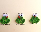 Green Frogs Card, Quilled Frogs Card, Blank Card, Quilled Art, funny greeting card, birthday invitation card