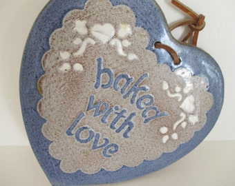 Blue Ceramic Trivet, Hot Plate, Pot Holder