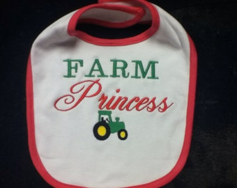 Baby Bib, Farm Princess, Green, Tractor Bib, Girl Bib, Girl