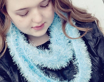 Blue scarf, ultra soft, knitted, handmade, eternity scarf, sparkle, fuzzy, available in mint as well