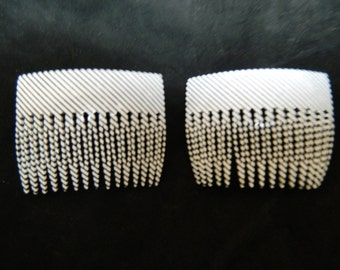 Vintage striped black white handmade hair combs made in France (set of 2)