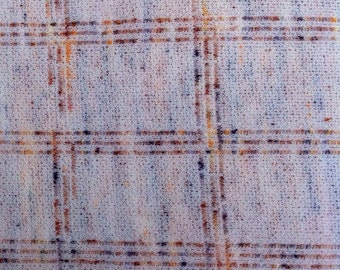 """Vintage Geometric Double Knit Polyester Fabric / beige earth tones & white, 63x63"""""""