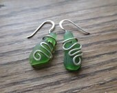 Handpicked Emerald Sea Glass and Wrapped Sterling Silver Earrings
