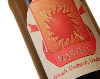 Martell Beer Labels, Game of Thrones, Martell Gift, (Sheet of 9 labels), oberyn martell, red viper, pedro pascal, Fathers Day, Gifts for him