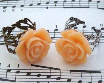 Rose ring peach flower on adjustable silver or bronze filigree base vintage inspired style