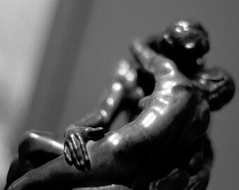 The Kiss // Black & White Fine Art Film Photography // Statues Embracing // Square Wall Art // Photo Print
