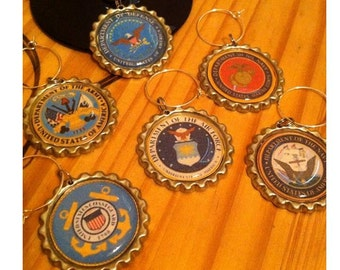 US Military Seals wine glass charms