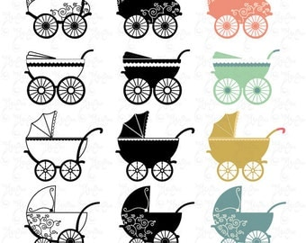 "Vintage Baby Carriage Clipart ""BABY CARRIAGE"" clip art pack, baby shower,Stroller Pram, Vintage Carriage, invitation,Instant Download Bsw003"
