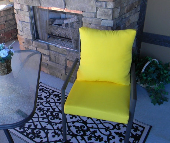 Outdoor Solid Yellow Foam Cushion Back Pillow Set For Patio