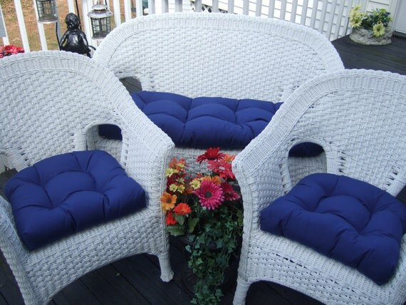 Royal Admiral Blue Solid Cushions For Wicker Loveseat