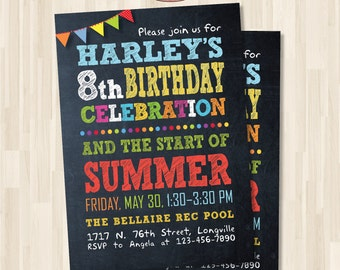 Birthday Party Invitation. End of school party. DIY card. Digital Printable Card