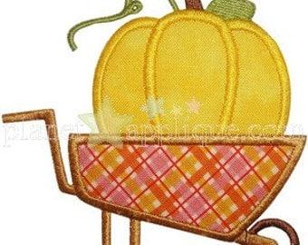Pumpkin Wheelbarrow Applique