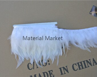 White Hackle feather fringe of white color 10 yards trim for decoraction